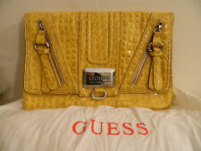 Borsa pochette pelle lucida effetto tartaruga gialla GUESS yellow leather clutch