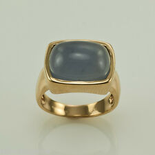 GEMSTONE COCKTAIL RING  18K SOLID YELLOW GOLD CABOCHON BLUE CHALCEDONY SIZE 8.75