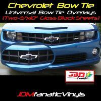 2x 5x10 High Gloss BLACK BowTie Emblem Overlays Decal Wrap Vehicle Universal KIT