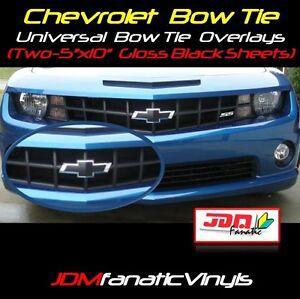 "TWO 5""x10"" UNVERSAL Gloss BLACK BowTie Emblem Overlays Decal Wrap Vehicle KIT"
