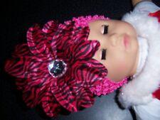 newborn BABY crochet hat HOT PINK ZEBRA daisy LILLY NEW