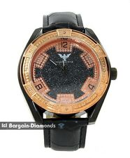 mens diamond big black business clubbing watch rose gold black leather