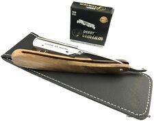 Holz Rasiermesser + 100 DERBY PREMIUM Rasierklingen Rasierer ink. Schutzhülle
