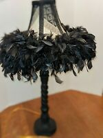 Tall Black Table Lamp With Black Boho/Retro Feather Shade 30""