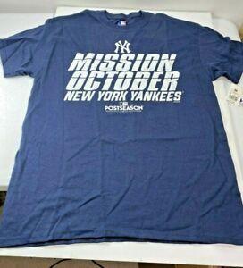 Mens New York Yankees Mission October 2017 Post Season T Shirt MLB Navy Blue