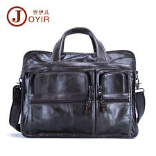 Genuine Leather Men 15'' Macbook Laptop Work Attache Briefcase Portfolio Tote