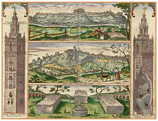 Giralda Gerena Seville Andalusia Spain bird's-eye view map Hogenberg ca.1598