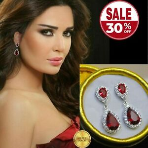 Womens Simulated Diamonds And Red Ruby White Gold GF Drop Dangle Earrings BOXED
