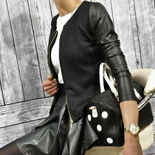 Women Fake Leather Casual Zip Long Sleeve Parka Coat Zipper Baseball Jacket FG