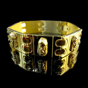 MENS 14K YELLOW GOLD FINISH OVER STAINLESS STEEL JESUS FACE BRACELET NEW