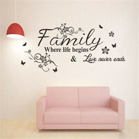 Family Where Life Begins Wall Sticker Quote Words Mural Vinyl DIY Art Home Decor