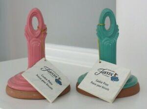 Vintage 1998 Rowoco Fiesta Green & Pink Ceramic Cookie Stamp Press Teapot Shape
