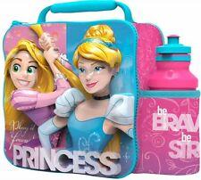 Disney Princess 3D Lunch Bag Box Drink Bottle Set School Nursery Children NEW
