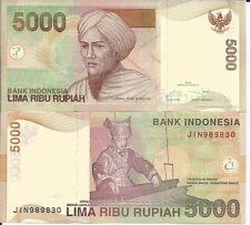 INDONESIA 5000 RUPIAS P 142 2016 LOTE DE 5 BILLETES