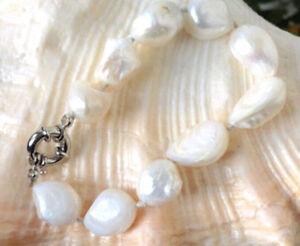 """11x13mm white freshwater baroque pearl bracelet 7.5"""""""