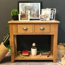 Oak Console Table / Solid Wood Hallway Unit With Drawers Harvard