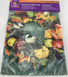 "Home Accents Fall Wreath Fruit Birds Decorative Outdoor Flag 18"" x 12.5"""