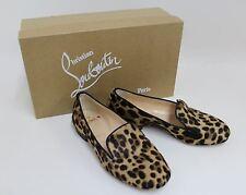 Christian Louboutin Damas Bronceado Mocasines Zapatos Pelo Pony Estampado de Leopardo EU36 UK3.5