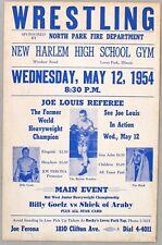 1954 WRESTLING POSTER with JOE LOUIS as Referee. Billy Goelz vs Sheik of Araby