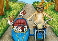 ACEO art print Cat 384 mouse motorcycle from funny original painting L.Dumas