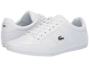 Men's Shoes Lacoste CHAYMON BL 1 Leather Lace Up Sneakers 37CMA009421G WHITE