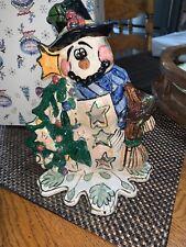Blue Sky Clayworks Heather Goldminc Snowman Tea Light Votive Candle Holder New