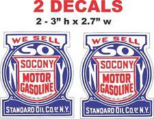 2 Socony Motor Gasoline NY Vinyl Decals