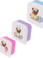set of 3 pug lunch boxes , snack , picnic, back to school , work , office