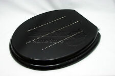 Black Wooden MDF Toilet Seat with Zinc Alloy Hinges Including Fittings - Diamond