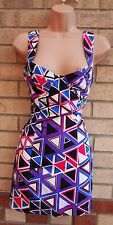 ASOS BLUE WHITE PINK TRIBAL ABSTRACT BODYCON CUT OUT SIDES PENCIL PARTY DRESS 10