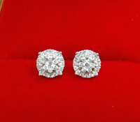 DEAL! 10K Gold Genuine Cluster Diamond Halo Round Studs Earrings .25ct 6.5mm