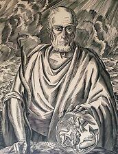 Jean CHIEZE (1898-1975) portrait d' Hippocrates Médecin Médecine Bois gravé
