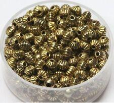 4  MM Vintage Brass Corrugated Bi-Cone  Beads Pkg Of 100