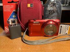 Fujifilm FinePix T Series T550 16.0MP Digital Camera - Red + Case + SD Card