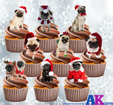 Pugs In Santa Hats Party Pack 36 Cup Cake Toppers Edible Stand Up Decorations
