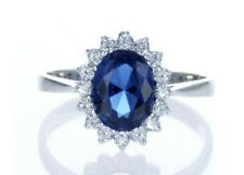 Princess Diana Blue Topaz And Diamond Ring 14k White Gold 100% Natural Diamonds
