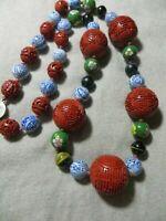 Vntg.Chinese Export Cinnabar /White/Blue Porcelain/Tiger Eye/Cloisonne Necklace