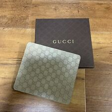 Gucci Mouse Pad Gray Leather Embossing H8xW9 inches with Box New