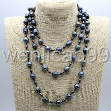"""New 54 """"6-11mm black freshwater cultured pearl long necklace AAA"""