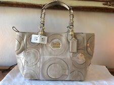 COACH MIA INLAID TOTE NWT MSRP $398.00, Suede, Leather, Patent & Sateen