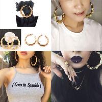 Large Bamboo Earrings Hip-Hop Gold/Silver Ladies Hoop/Hoop Bling Circles YJ