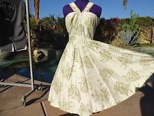 New listing Vintage 50s dress ivory gold S/M evening cocktail pinup full skirt silk? lined