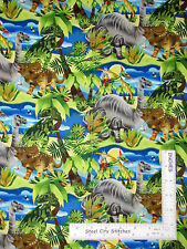 Dinosaur Prehistoric Animal Foliage Cotton Fabric SPX Spectrix Dino-Might - Yard