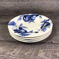 Pier 1 Melinda Large Rimmed Soup Bowl Cream Blue Fruit Earthenware Set of 4