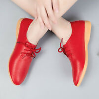Casual Women's Lace-up Shoes Genuine Leather Flat Female Student shoes Loafers