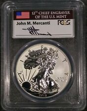 2013-W $1 Silver Eagle PR69 Rev Proof FIRST STRIKE USA Flag John Mercanti Label