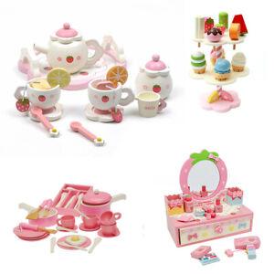 KIDS WOODEN Kitchen Pretend Play Toy Tea Set Ice Cream Cooking Set Puzzle Clock