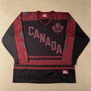 Team Canada 2010 Hockey Jersey Canadian Athletics Black Maroon Large