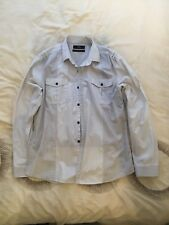 Next Mens Light Grey Striped Casual Shirt Slim Fit Large