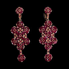 Marquise Red Ruby 4x2mm 14K Rose Gold Plate 925 Sterling Silver Earrings
